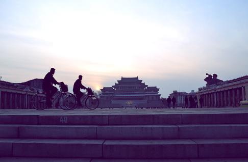 American Vacation in North Korea: Biking at Kim Il Sung Square